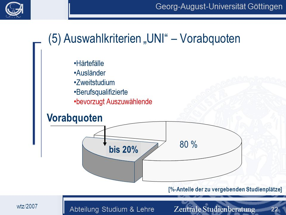 """(5) Auswahlkriterien """"UNI – Vorabquoten"""