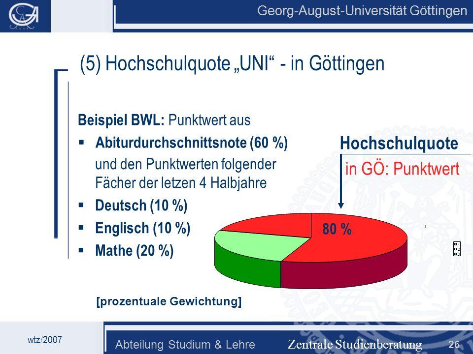 """(5) Hochschulquote """"UNI - in Göttingen"""