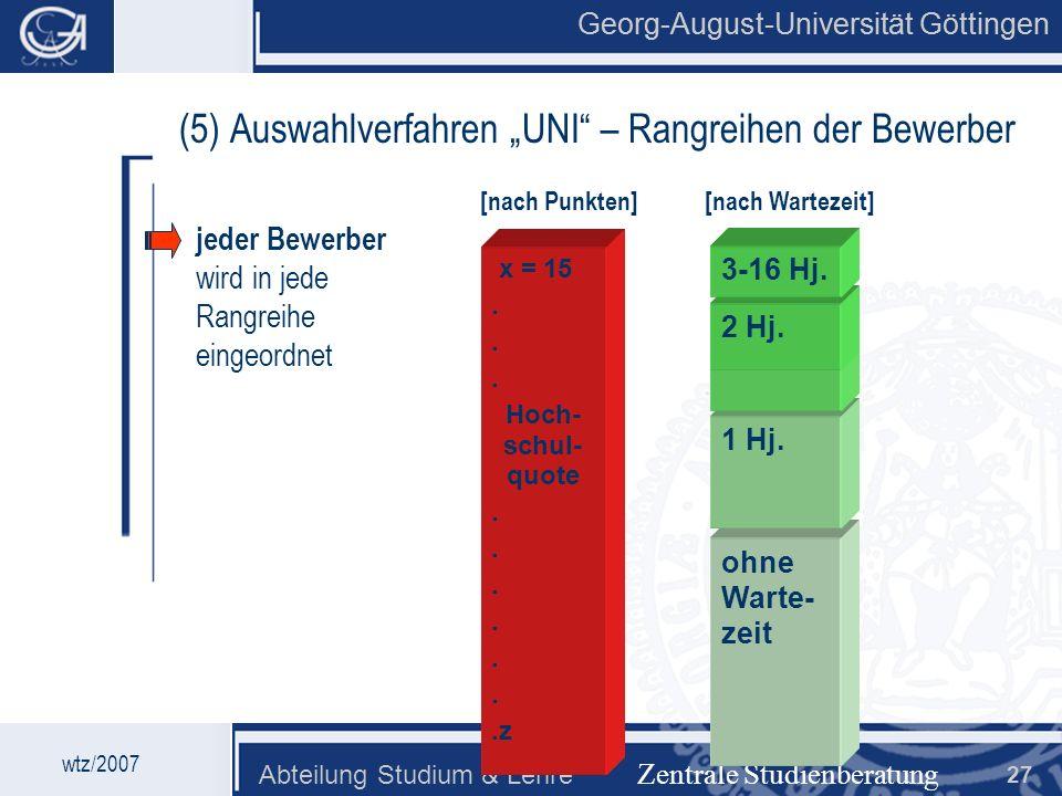 """(5) Auswahlverfahren """"UNI – Rangreihen der Bewerber"""