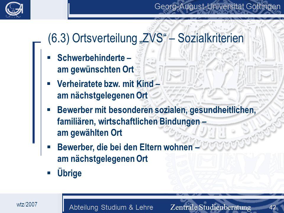 """(6.3) Ortsverteilung """"ZVS – Sozialkriterien"""