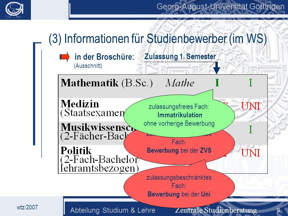 (3) Informationen für Studienbewerber (im WS)