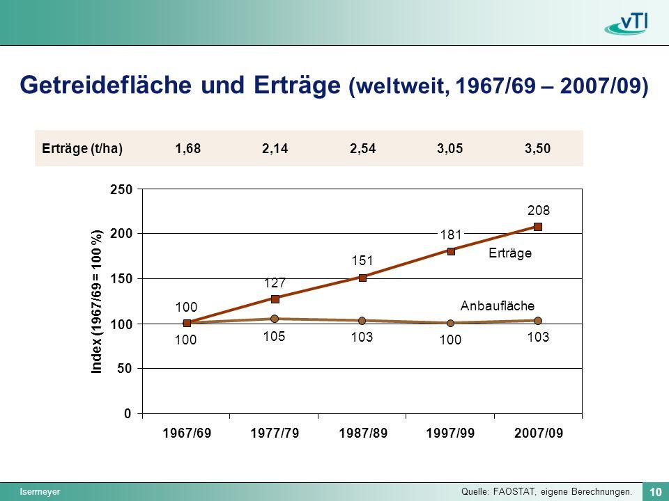 Getreidefläche und Erträge (weltweit, 1967/69 – 2007/09)