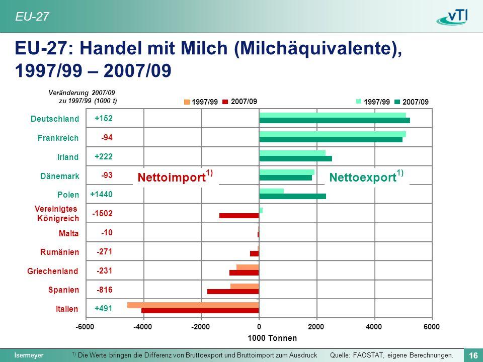 EU-27: Handel mit Milch (Milchäquivalente), 1997/99 – 2007/09