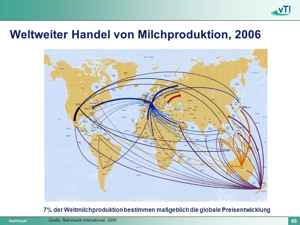 Weltweiter Handel von Milchproduktion, 2006