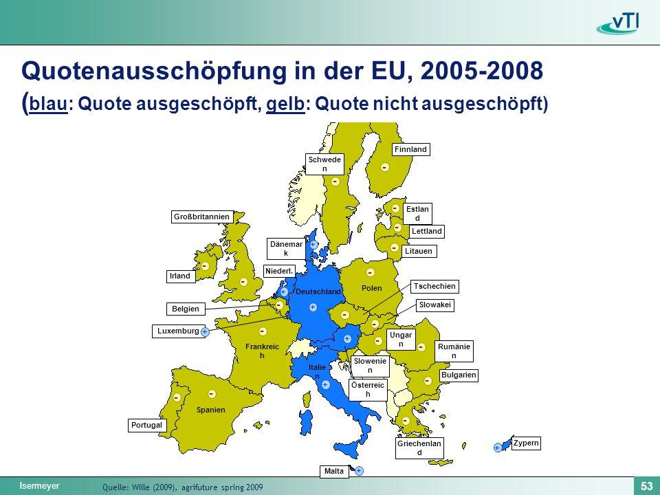 Quotenausschöpfung in der EU, 2005-2008 (blau: Quote ausgeschöpft, gelb: Quote nicht ausgeschöpft)