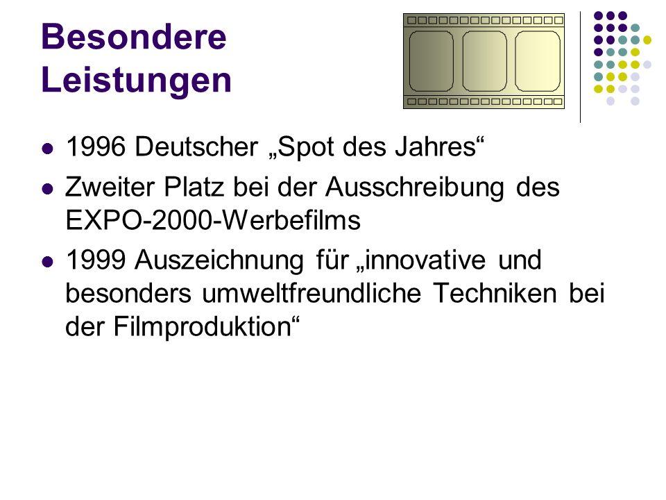 """Besondere Leistungen 1996 Deutscher """"Spot des Jahres"""