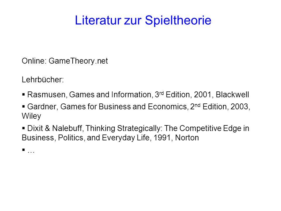 Literatur zur Spieltheorie