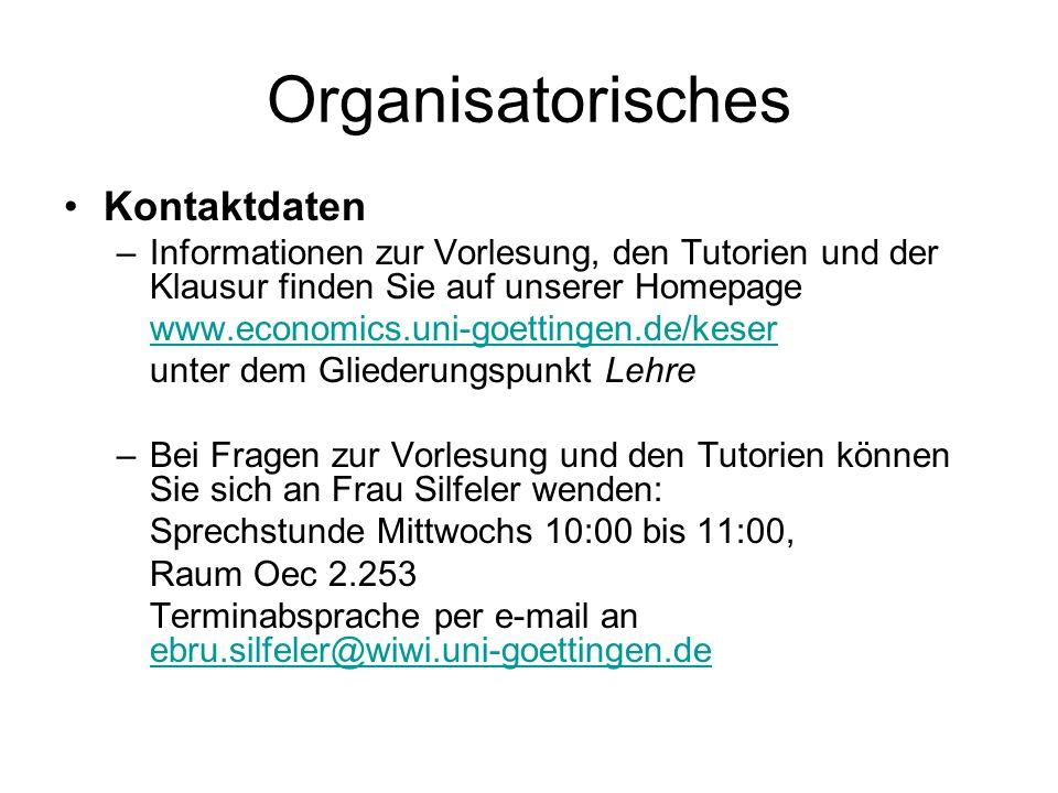 Organisatorisches Kontaktdaten