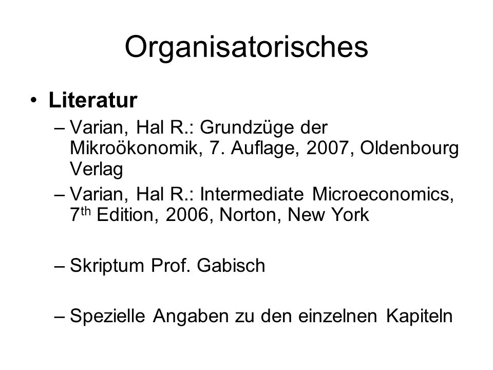 Organisatorisches Literatur