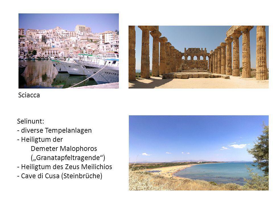"""Sciacca Selinunt: diverse Tempelanlagen. Heiligtum der. Demeter Malophoros (""""Granatapfeltragende )"""