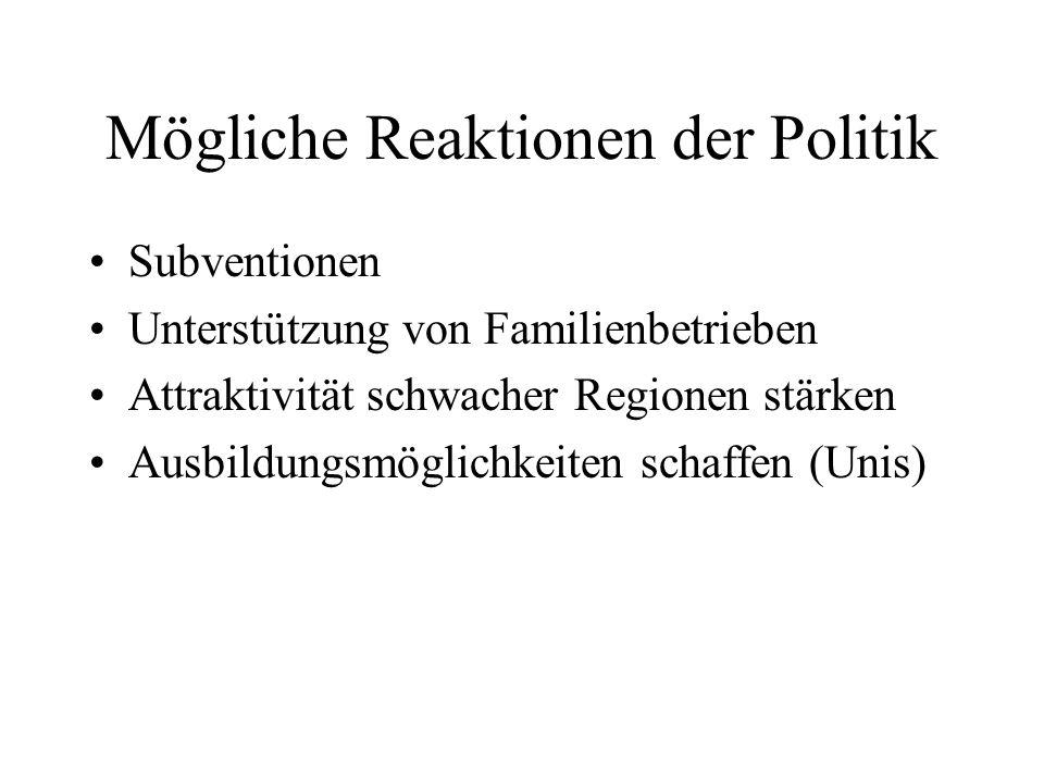 Mögliche Reaktionen der Politik