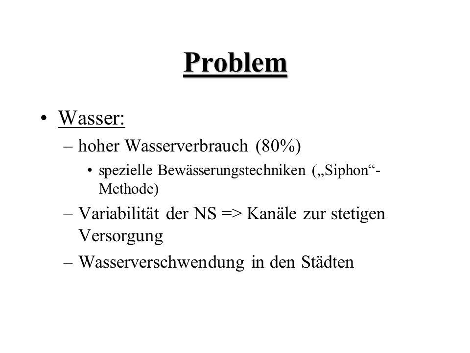 Problem Wasser: hoher Wasserverbrauch (80%)