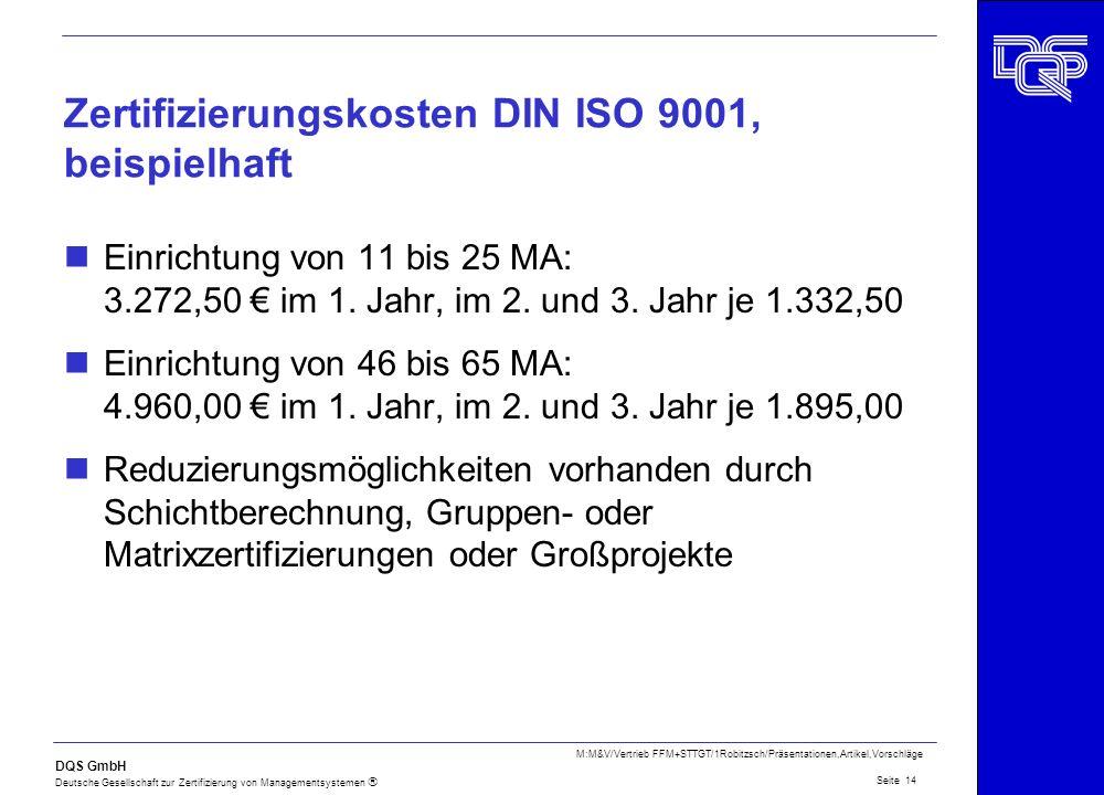 Zertifizierungskosten DIN ISO 9001, beispielhaft