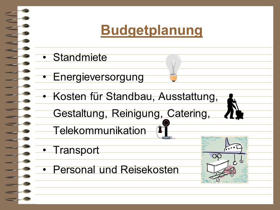 Budgetplanung Standmiete Energieversorgung