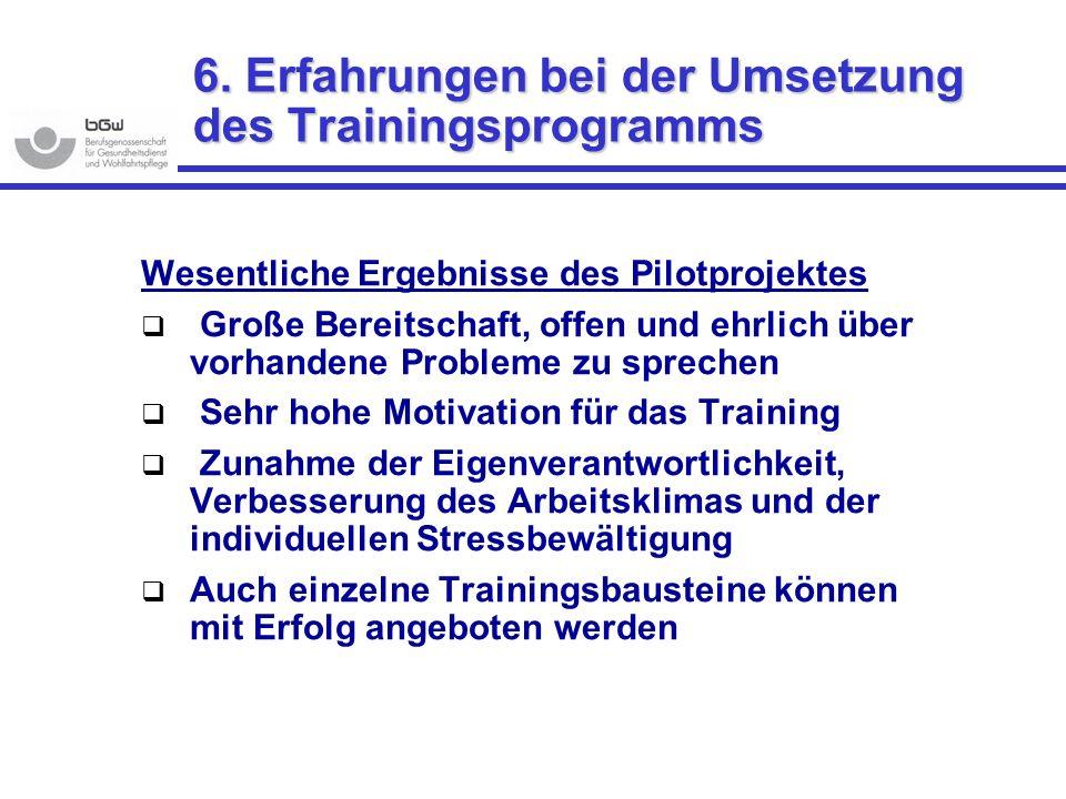 6. Erfahrungen bei der Umsetzung des Trainingsprogramms