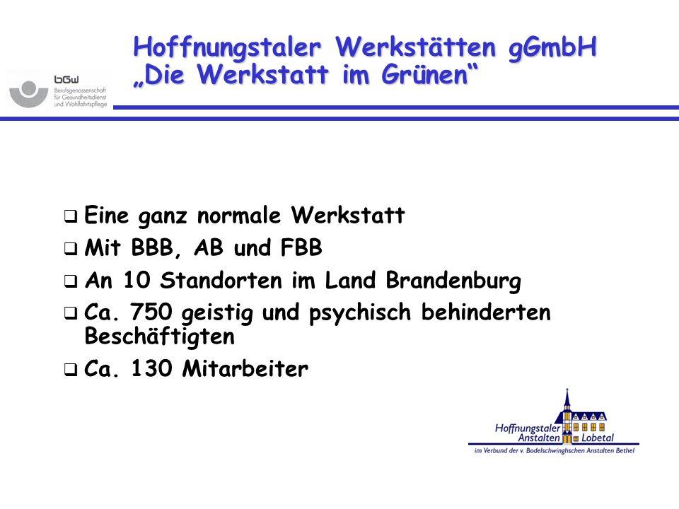 """Hoffnungstaler Werkstätten gGmbH """"Die Werkstatt im Grünen"""