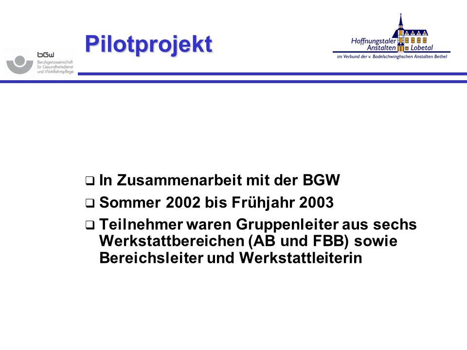 Pilotprojekt In Zusammenarbeit mit der BGW