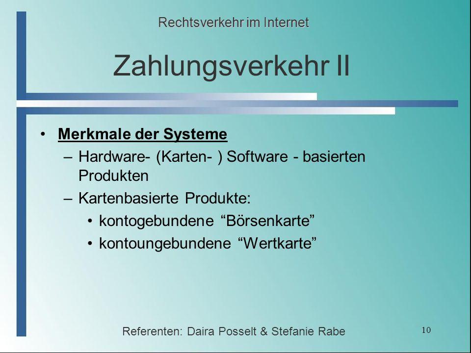 Zahlungsverkehr II Merkmale der Systeme