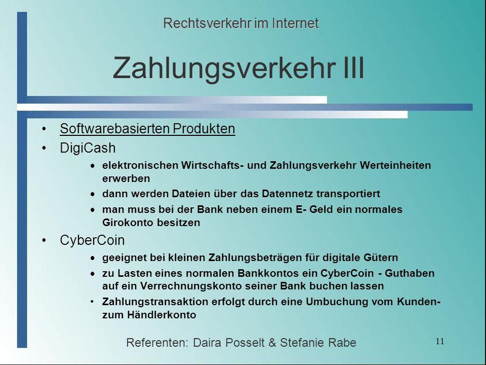 Zahlungsverkehr III Rechtsverkehr im Internet