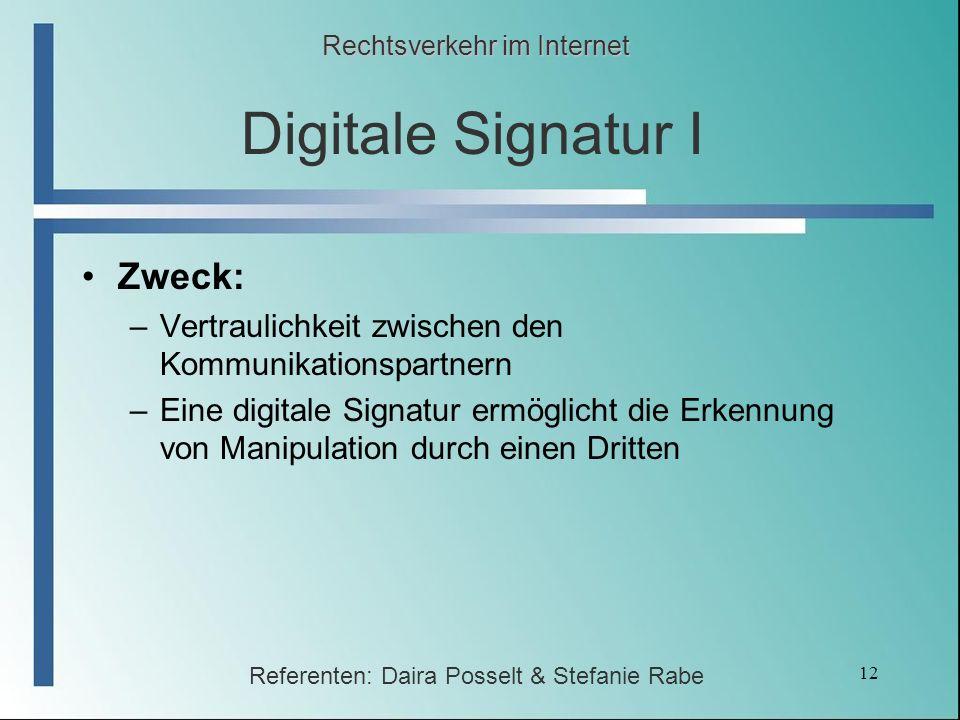 Digitale Signatur I Zweck: