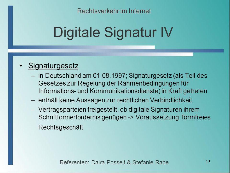 Digitale Signatur IV Signaturgesetz Rechtsverkehr im Internet