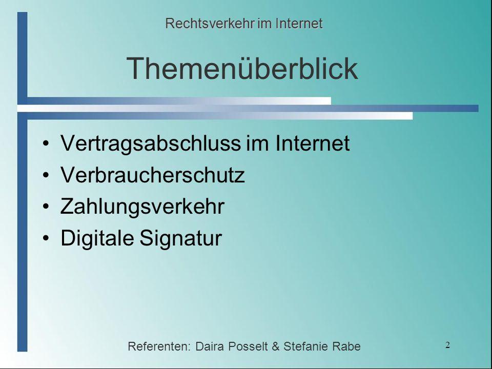 Themenüberblick Vertragsabschluss im Internet Verbraucherschutz