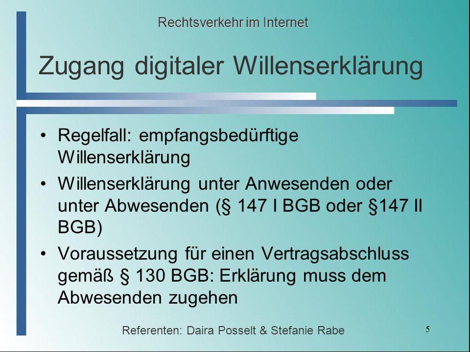 Zugang digitaler Willenserklärung