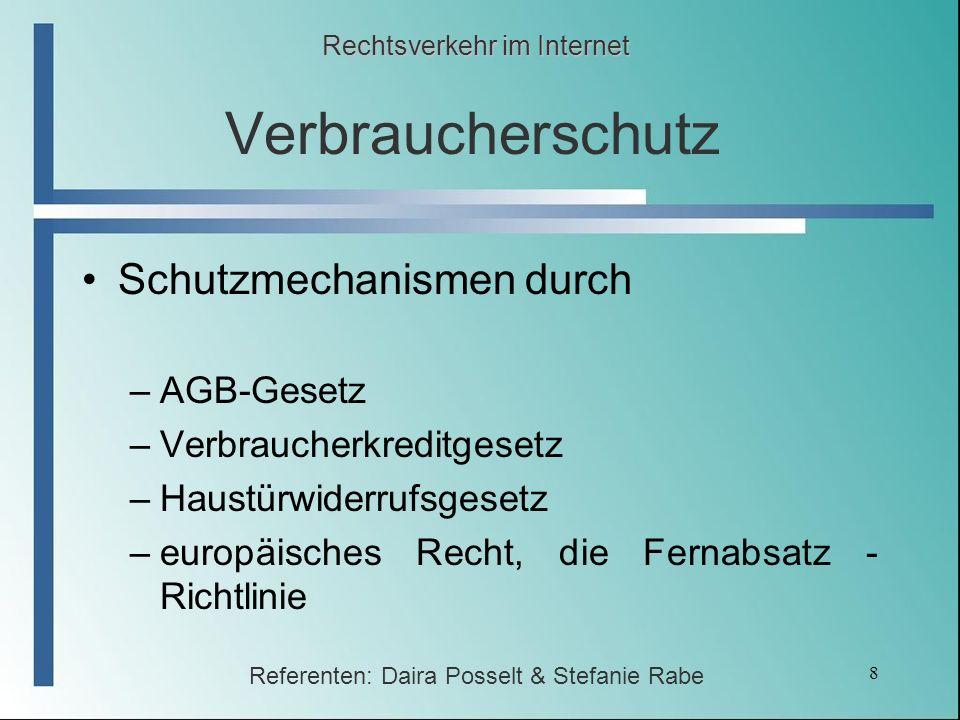 Verbraucherschutz Schutzmechanismen durch AGB-Gesetz