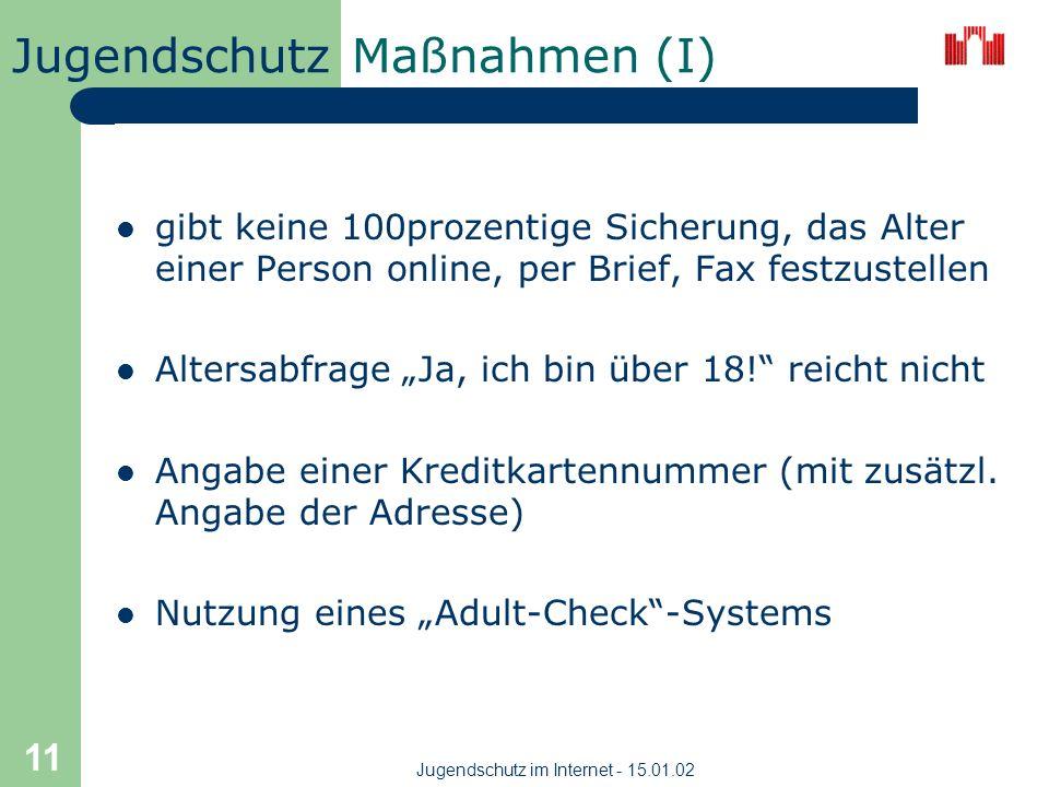 Jugendschutz im Internet - 15.01.02