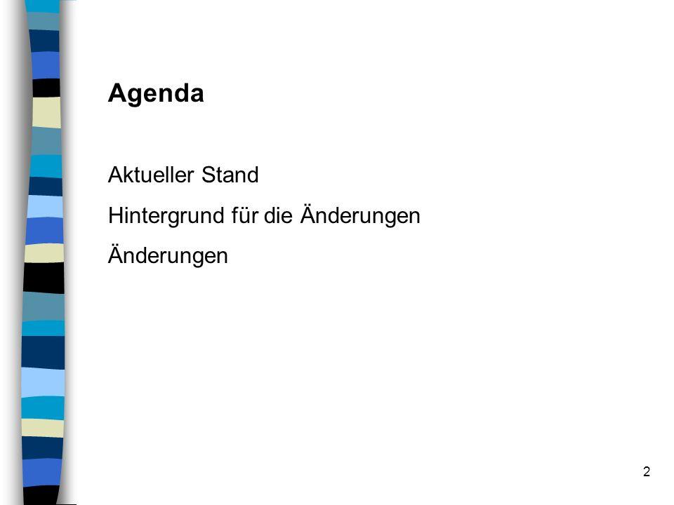 Agenda Aktueller Stand Hintergrund für die Änderungen Änderungen