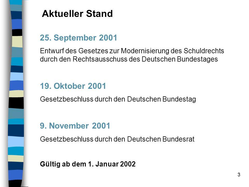 Aktueller Stand 25. September 2001 19. Oktober 2001 9. November 2001