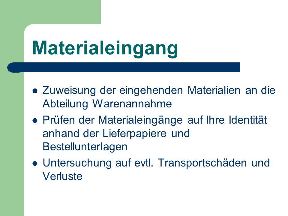 Materialeingang Zuweisung der eingehenden Materialien an die Abteilung Warenannahme.
