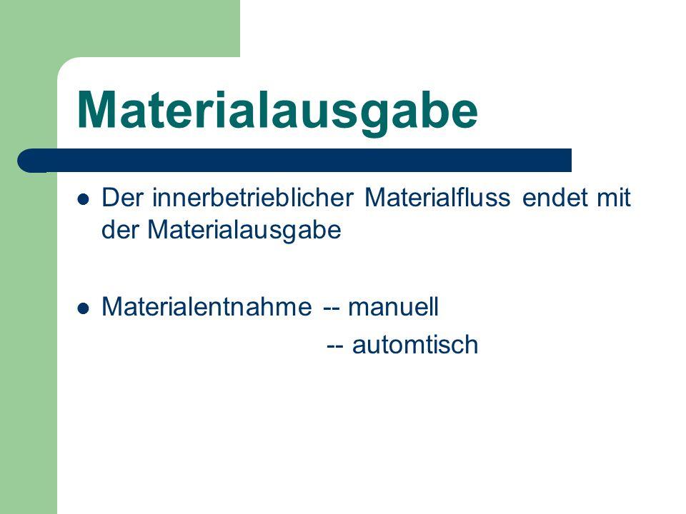 MaterialausgabeDer innerbetrieblicher Materialfluss endet mit der Materialausgabe. Materialentnahme -- manuell.
