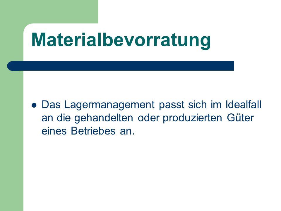 MaterialbevorratungDas Lagermanagement passt sich im Idealfall an die gehandelten oder produzierten Güter eines Betriebes an.