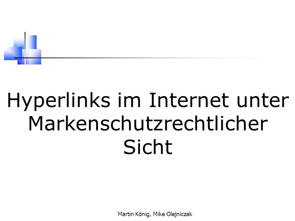 Hyperlinks im Internet unter Markenschutzrechtlicher Sicht