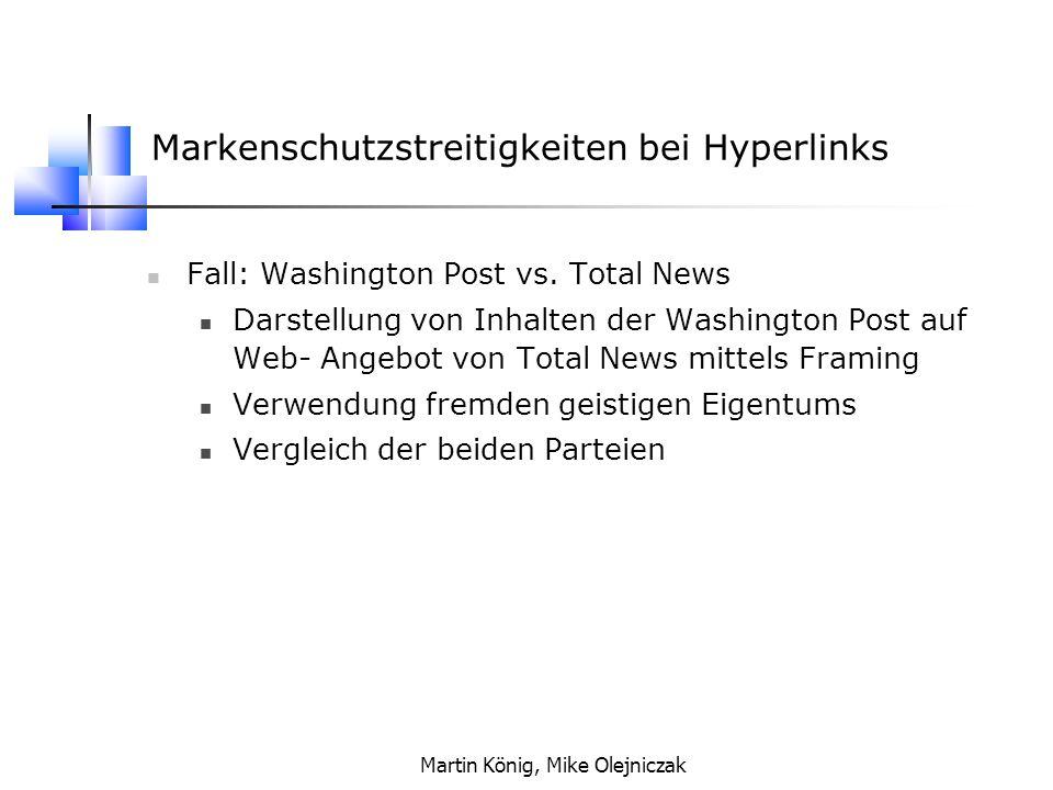 Markenschutzstreitigkeiten bei Hyperlinks