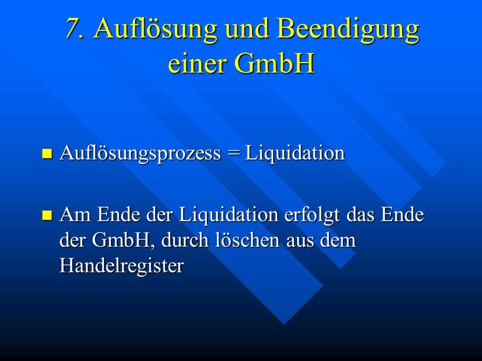 7. Auflösung und Beendigung einer GmbH