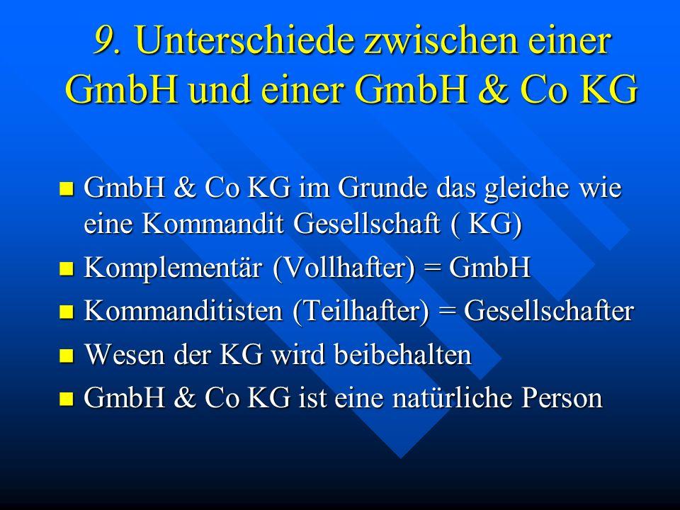 9. Unterschiede zwischen einer GmbH und einer GmbH & Co KG