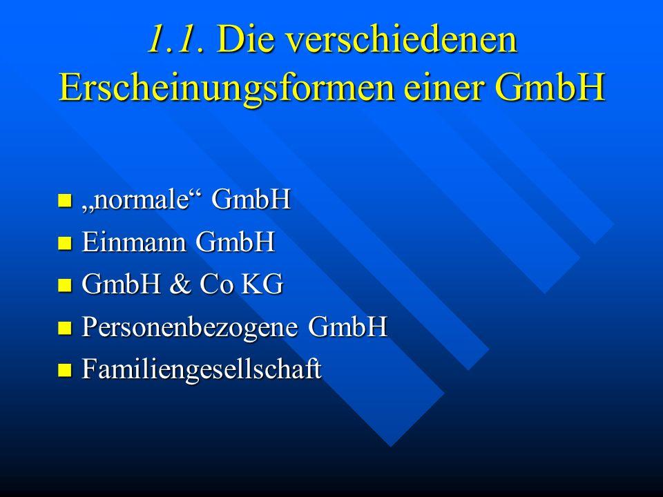 1.1. Die verschiedenen Erscheinungsformen einer GmbH