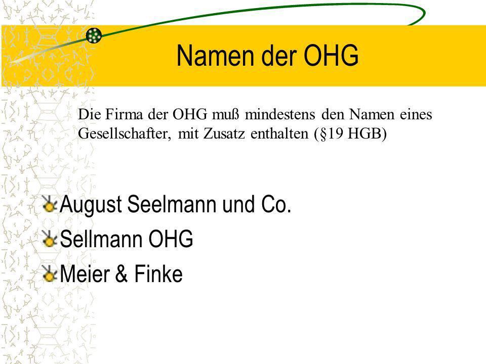 Namen der OHG August Seelmann und Co. Sellmann OHG Meier & Finke