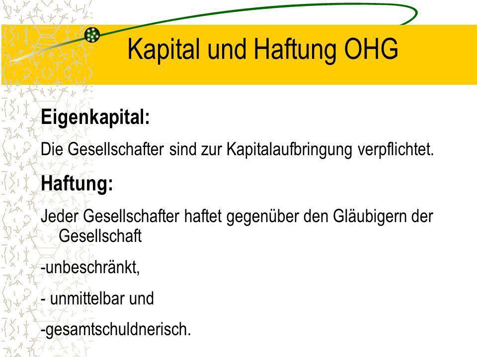 Kapital und Haftung OHG