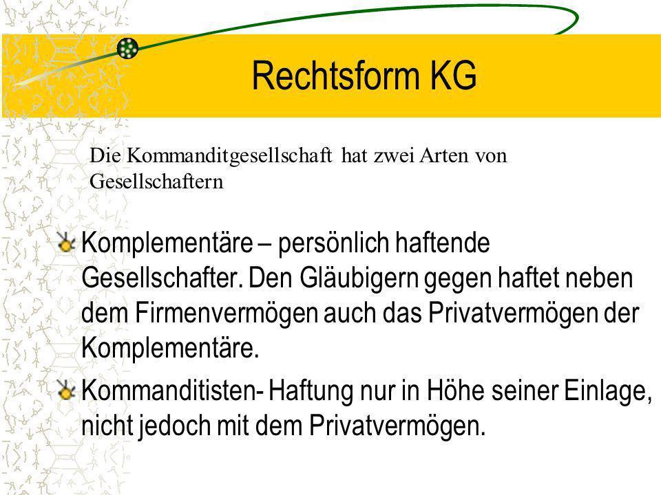 Rechtsform KG Die Kommanditgesellschaft hat zwei Arten von Gesellschaftern.