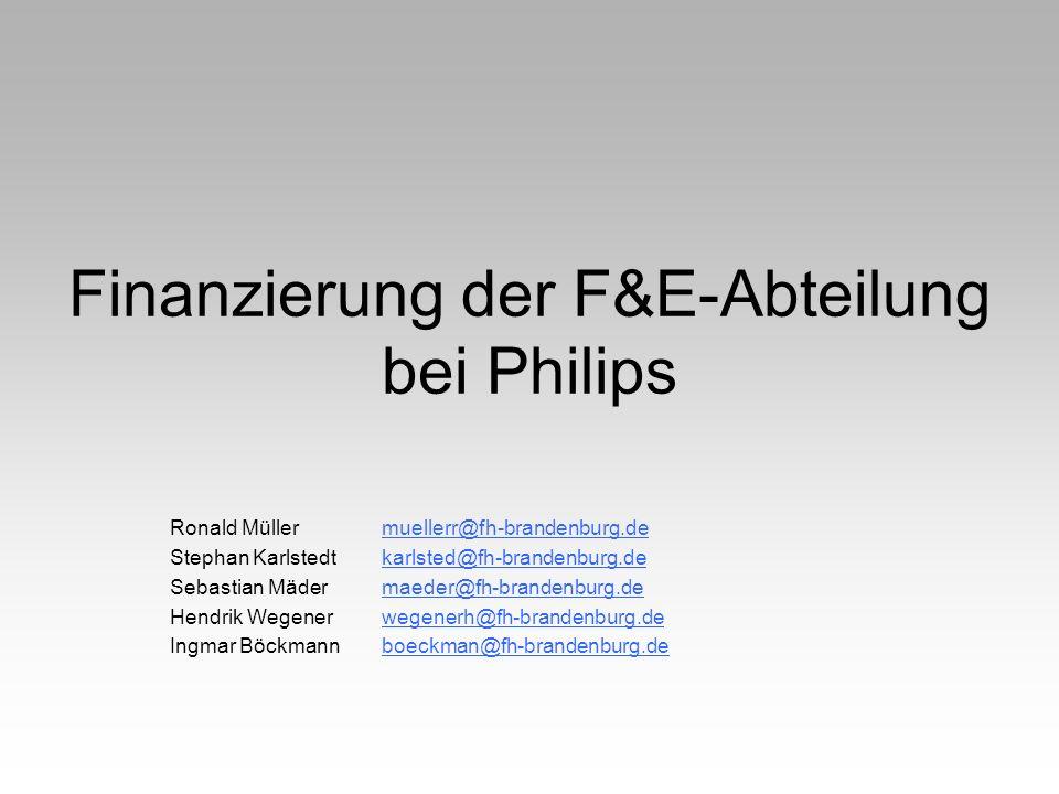 Finanzierung der F&E-Abteilung bei Philips