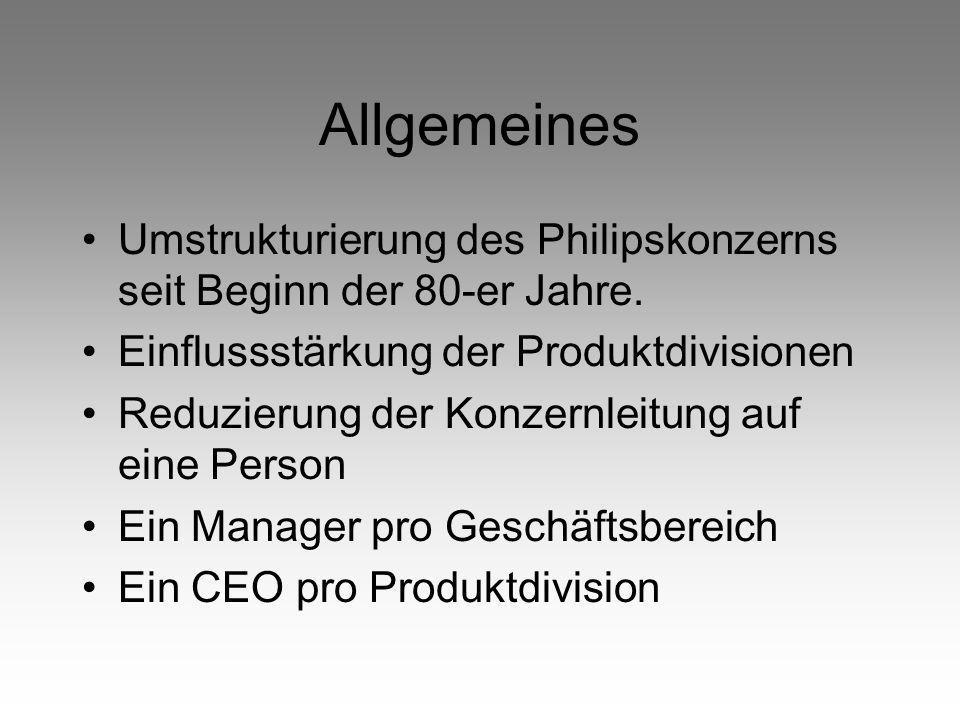Allgemeines Umstrukturierung des Philipskonzerns seit Beginn der 80-er Jahre. Einflussstärkung der Produktdivisionen.