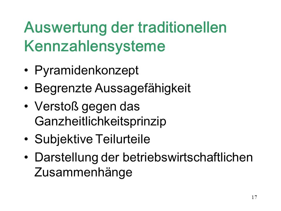 Auswertung der traditionellen Kennzahlensysteme