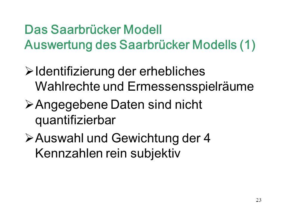 Das Saarbrücker Modell Auswertung des Saarbrücker Modells (1)