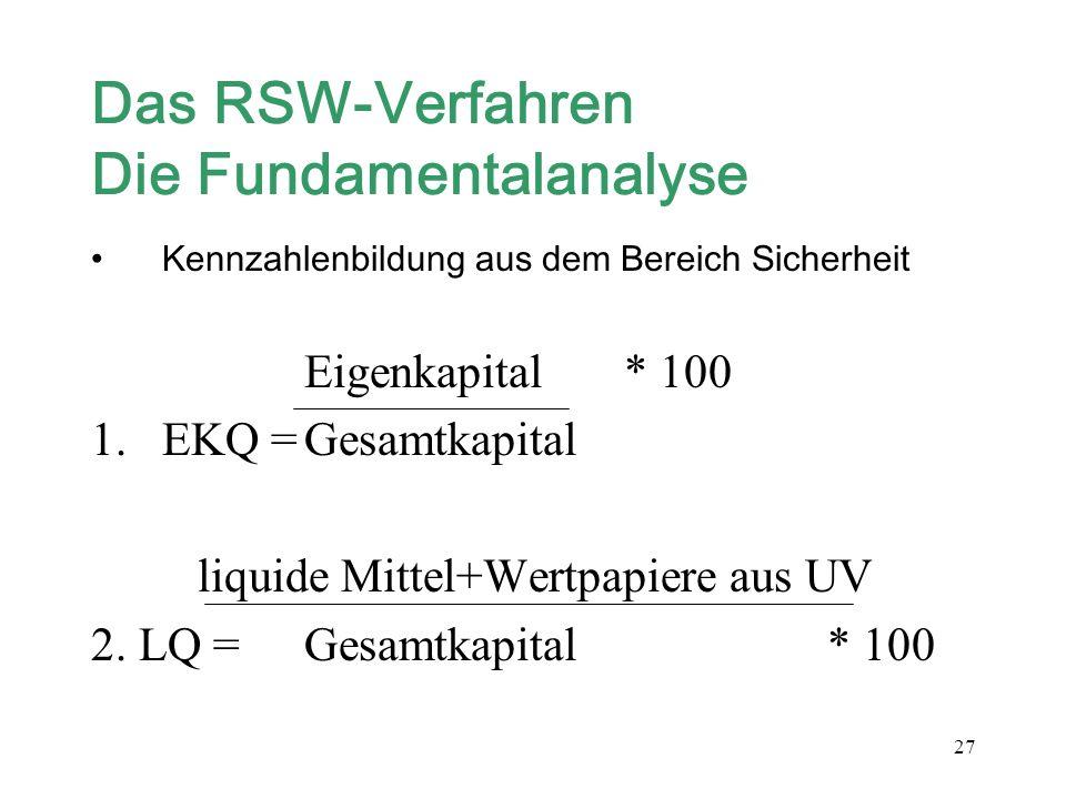 Das RSW-Verfahren Die Fundamentalanalyse