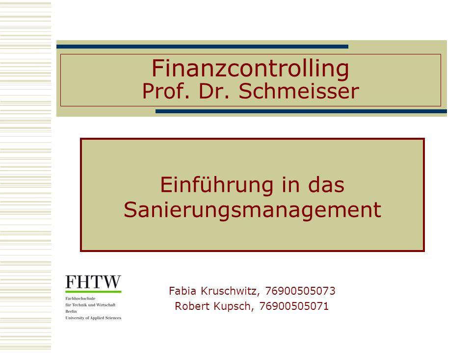 Finanzcontrolling Prof. Dr. Schmeisser