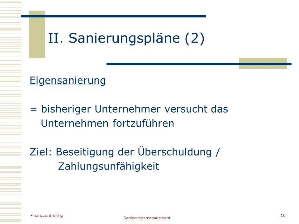 II. Sanierungspläne (2) Eigensanierung