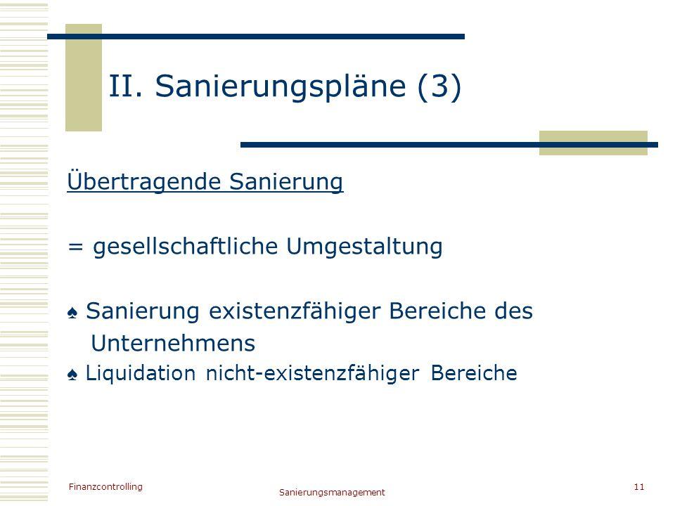 II. Sanierungspläne (3) Übertragende Sanierung